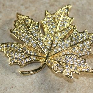 White Topaz CZ Maple Leaf Brooch Pin Gold Filled